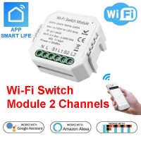 Wi-Fi Switch Module 2 Channels - Amazon Alexa and Google Assistant